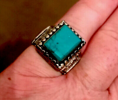 ANCIENT ROMAN SILVER RING INTAGLIO WITH RARE Green STONE 10.2gr 24mm