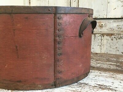 Rare Early Aafa Antique Grain Measure Pantry Box Wood Original Paint Oxblood Red