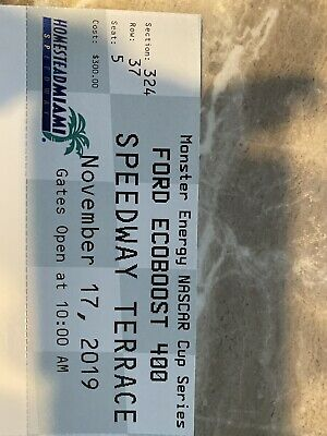 1 Tick Sunday NASCAR Ford Ecoboost 400 Race Section 323 Speedway Terrace