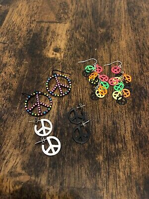 4 Pairs Of Peace Sign Earrings For Girls/Tweens, Assorted Pierced Styles