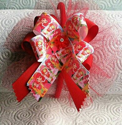"""Strawberry Shortcake ""  Red Handmade Hair Bow On Red Headband 6 X 6 Bow"