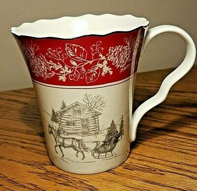 222 Fifth ANDOVER horse sleigh Christmas mug fine china