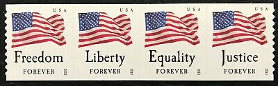 2012 #4633-4636 - Forever - FOUR FLAGS - Strip of 4 Coil Stamps - Mint NH