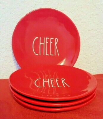 """Rae Dunn Set Of 4 CHEER Plates All RED🎁❤️Christmas Farmhouse 8.5"""" New w/tags"""