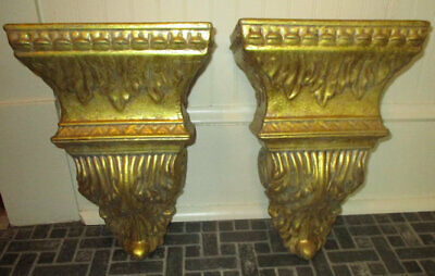 Pair of Grandin Road Gold Corbel Sconce Wall Shelves