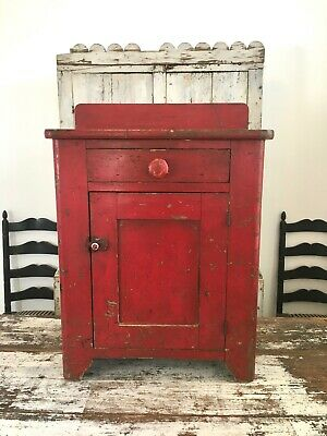 Aafa Folk Art Antique Original Paint Primitive Red Wood Cabinet Dovetailed