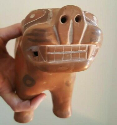 Vintage Mexican Pottery Jaguar Cat,  PreColumbian Clay animal figurine, cat gift