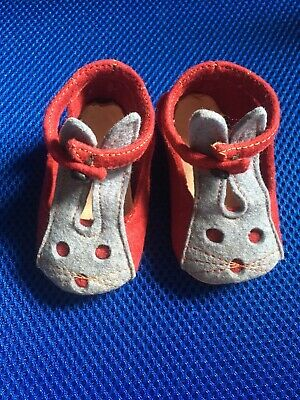 Thrift to fantasy OOAK felt & suede bunny rabbit baby shoes vintage 1930-50s