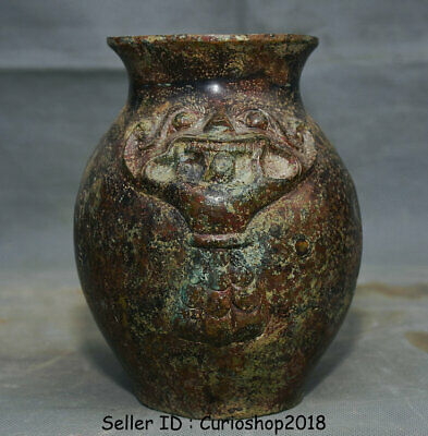 "6.8"" Ancient Old China Dynasty Bronze Wine Vessel Ware Beast Bottle Vase Jar Pot"