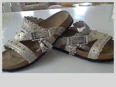 stunning birkenstock slip on sandals  worn once as new silver size 40