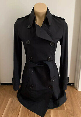 Auth BURBERRY $3250 Women's Black Trench Coat Size US 6 8 UK 8 AU 8 S STUNNING!!