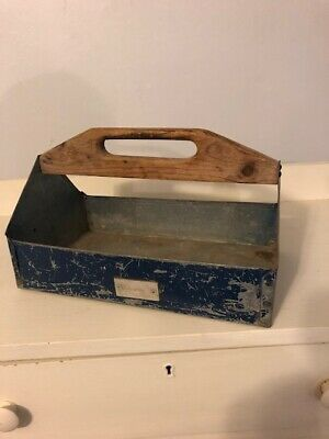 Antique Primitive CARRIER TOOL BOX TOTE Vintage Caddy old Blue PAINT Small size