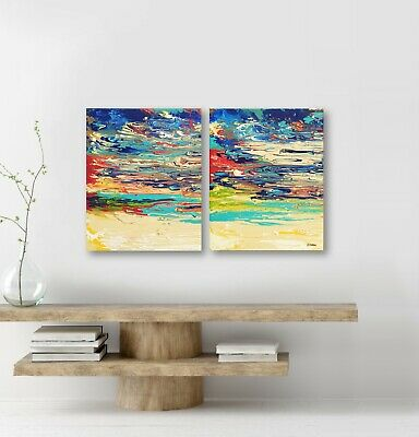 Abstract Sunset Painting on Canvas Acrylic Pour Art Colorful Wall Decor Set of 2
