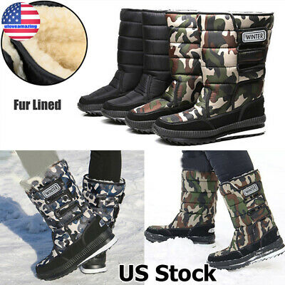 Mens Camouflage Mid Calf Rain Boots Waterproof Slip On Warm Outdoor Shoes F255