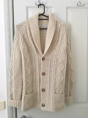 Vintage Wool Cable Knit Fisherman Cardigan Cream Size M-L