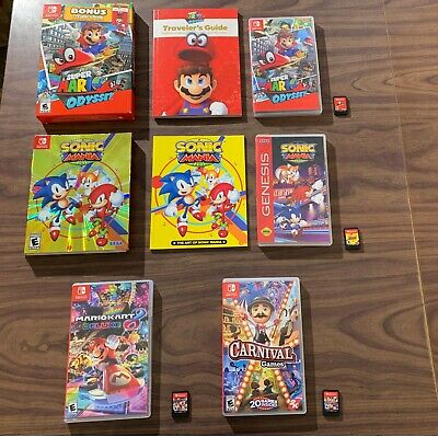 Super Mario Odyssey+Kart 8 Deluxe +Sonic Mania +Carnival Games (Nintendo Switch)