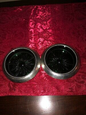 """Two Frank M Whiting & Co Sterling Rim Green Dep Glass Coaster/Dish  7"""" dia."""