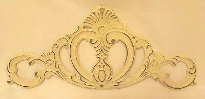 "Cast Iron White Washed Antiqued Finish Shabby Chic Wall Hanging 16"" L x 7"" H"
