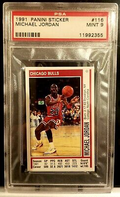 1991 Panini Sticker Michael Jordan PSA Graded 9 Mint Chicago Bulls