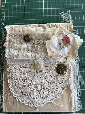 Hand made Junk Journal Shabby Chic Fabric Pouch Purse Bag Folder