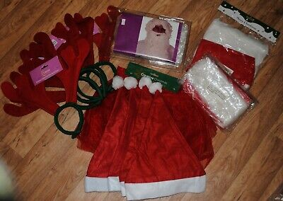 New Job Lot Christmas Fancy Dress Bundle Hats Antlers Beard Tutu Bargain Party
