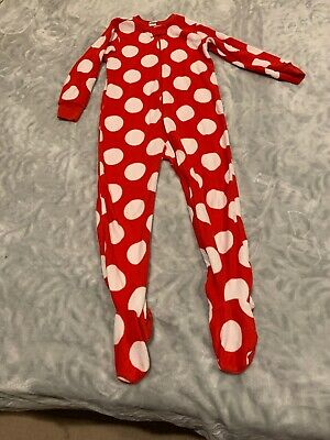 Old Navy 4t Red White Polka Dot Fleece Zip Up Footed Pajamas Christmas
