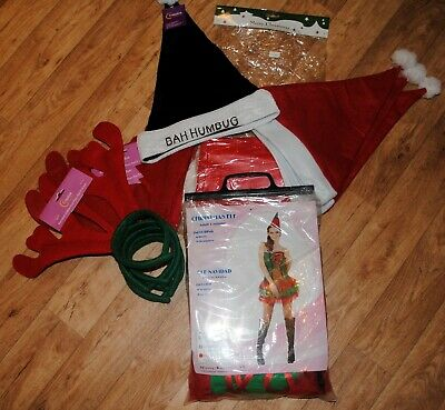 Joblot Bundle Fancy Dress Elf Costume Santa Hats Rendeer Antlers Christmas