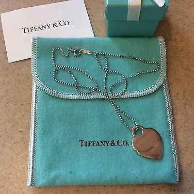 Tiffany & Co. Plain HEART Tag Pendant Charm Necklace Sterling Silver 18 In