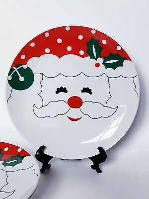 """Vintage Happy Santa Claus Face Polka Dots 7.5"""" Dessert Plates Set of Four in Box"""