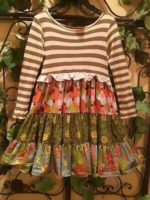 Matilda Jane ~ Striped And Floral Girl's Dress ~ Size 8 - Euc
