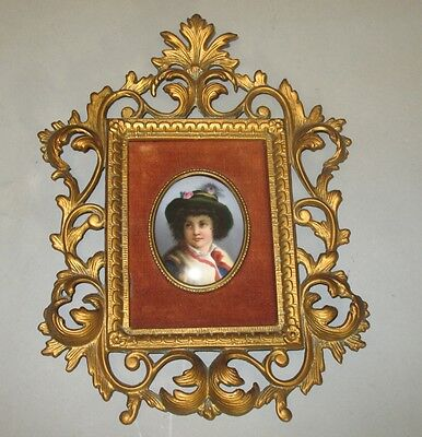 Fine ANTIQUE GERMAN 19th C. Hand-Painted Plaque of Young Boy in Gilt Frame +