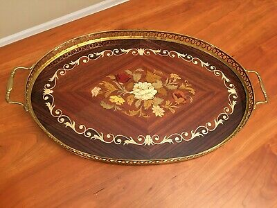 Inlaid Wood Oval Tray with Brass Rail MAde in Italy