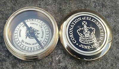 """2.5"""" Brass Magnetic Compass With Engraved Poem,Unique nautical Compass GIft"""