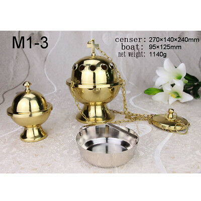 Custom Brass Incense Censer Thurible with Boat Set for Church Chapel Mass Altar