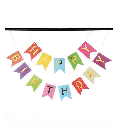 Happy Birthday Bunting Banner Hanging Letters Party Decoration Garland S3