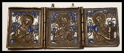 ANTIQUE  ORIGINAL  RUSSIAN TRIPTYCH FOLDING ICON  BRASS ENAMEL 19th CENTURY