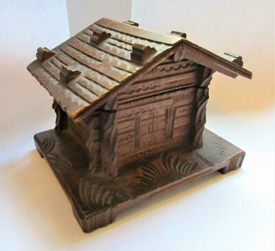 Antique Black Forest Carved Wooden treen Ink Well chalet house Box c1890. E25