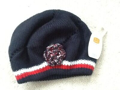 Girls Nwt Mini Mode Navy/Red/White Beanie Hat Age 4-6