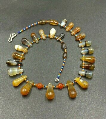 A antiques banded agate  necklace made from a collection of