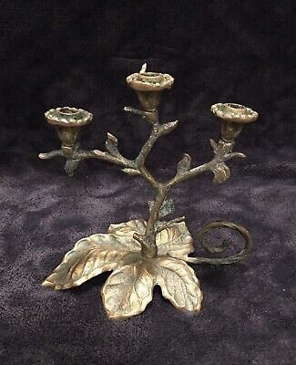 19th Century Antique French Gilt Bronze Art Nouveau Three Armed Chamberstick