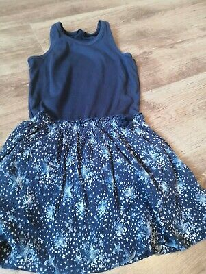 Girls Navy Blue Star Print Dress Age 7-8 From George. Great condition