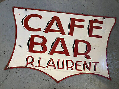 """An Original Double Sided French Cafe / Bar Sign """"R. Laurent"""""""