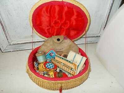 Vintage sewing basket box and contents including pin cushion thimble scissors