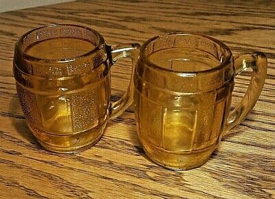 Mini Barrel Mugs Shot Glasses Amber Glass Set Of 2 Vtg Toothpick Holders