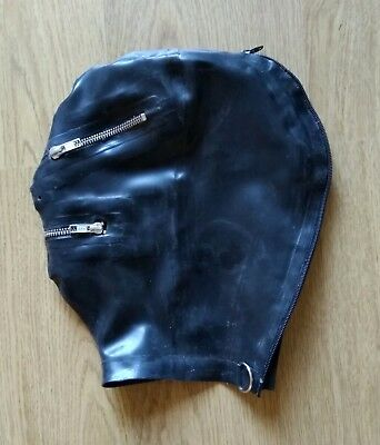 Latex Rubber Quality Fitted Hood BLACK Rear zip YKK Zip Mouth & Eyes & Nose S-XL