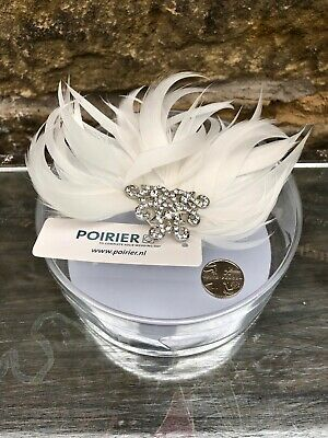 Poirer Ivory Feather and Crystal Corsage on Clip