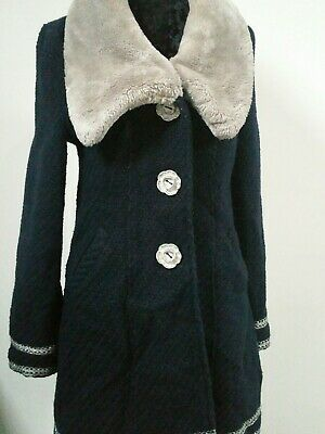 Ladies Navy Blue Coat Size 12 Navy Blue - Good Condition