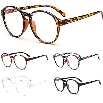 Large Oval Round Clear Lens Fashion Glasses Womens Mens Keyhole