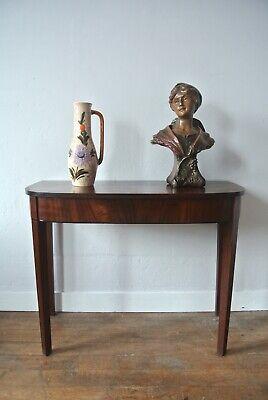 Antique English Georgian Mahogany D Shaped Demi-Lune Console Side Hall Table