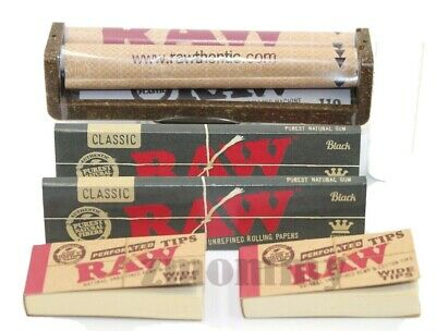 Authentic Raw Black Rolling Paper King Size Bundle Roller+Papers+Tips